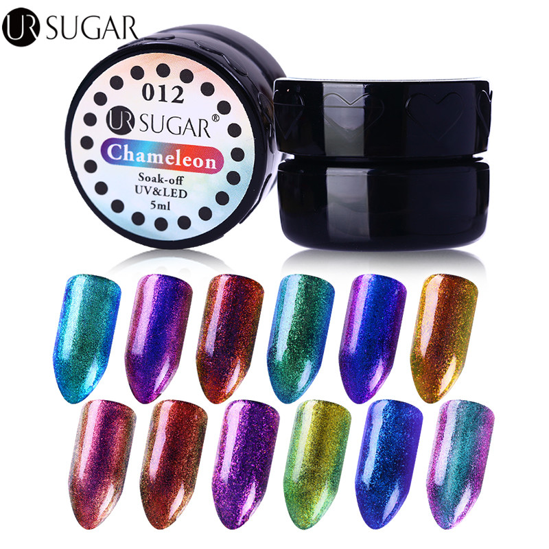 UR SUGAR 5ml Chameleon Gel Lacquer Sparkly Rendam Off UV Gel Warna Coat Poland UV LED Nail Art Gel Varnish DIY Nail Art Paint