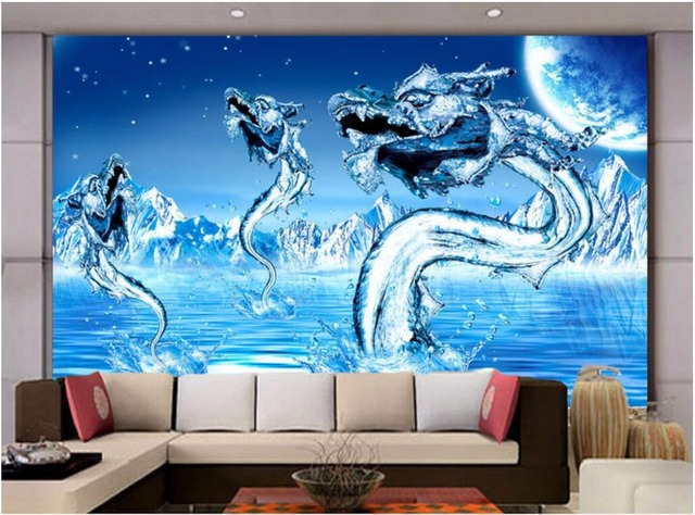 3d behang custom photo mural blauw ijs water draak foto living kamer