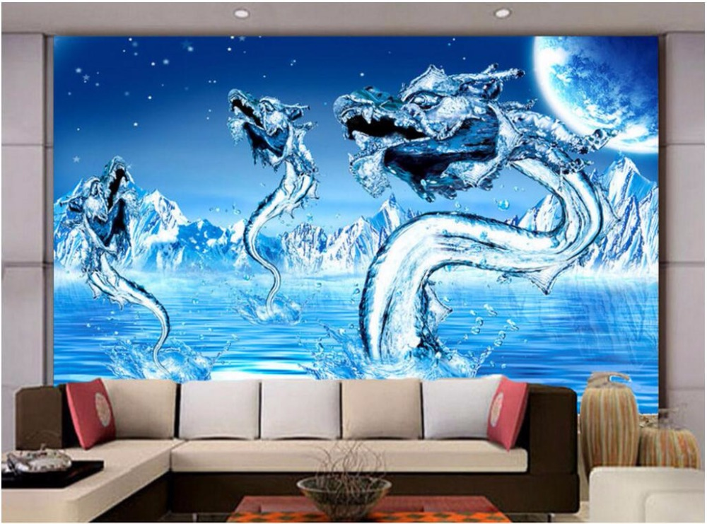 3d wallpaper Custom photo mural Blue Ice Water Dragon picture living room decor painting 3d wall mural wallpaper for walls 3 d 3d wall murals wallpaper for walls 3 d photo wallpaper birch forest snow scenery decor picture custom mural painting