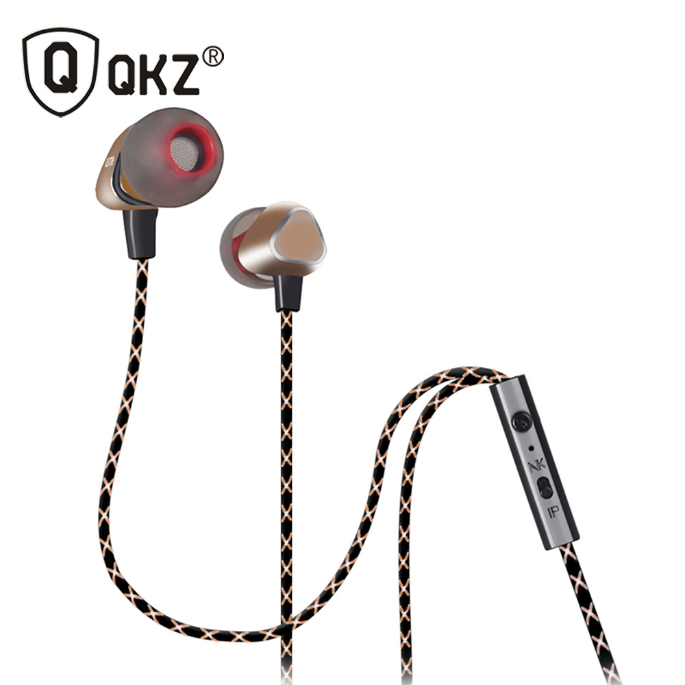 QKZ X36M Enthusiast Bass Ear Headphones Copper Forging 7MM Shocking Antinoise Earphone With Microphone Sound Quality