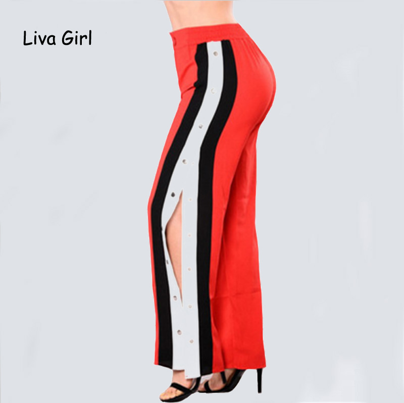 Wide     Leg     Pants   Side Split Women   Pants   High Waist Rivet Long Trousers Women Casual Summer Autumn Loose Black Stripe   Pants