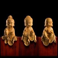 Three Western Gods Boxwood Wood Buda Statue Wooden Buddha Statues Carving Solid Wood Sakyamuni for Home Decor R1598