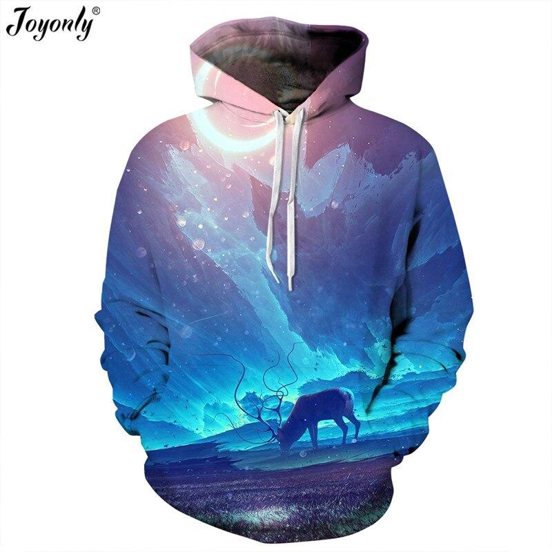 Joyonly Space Galaxy Hoodies Women/Men Fashion Thin Sweatshirt Printing Blue Sky Animal Deer Dreamy Color Hooded Pullover Tops