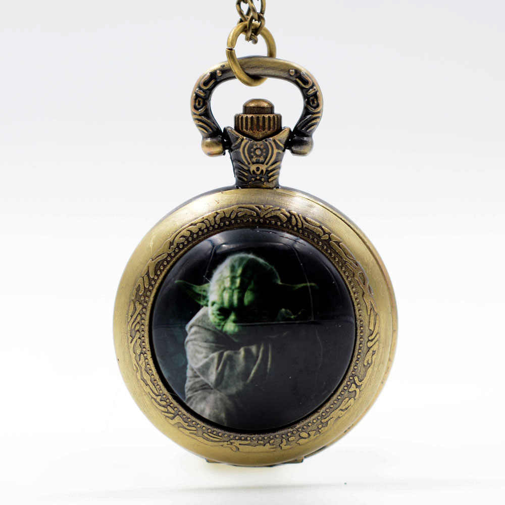 New Sci-fi movies Star Wars Master Yoda Black/Bronze/Silver Quartz Pocket Watch Pendant Necklace Men Watch Women Watch Gift