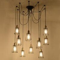 Led modern chain pendant lighting fixtures black Retro Restaurant lamp vintage pendant lighting bar office Classical iron light