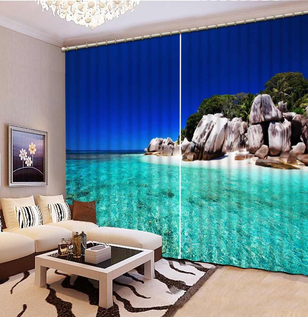 Современные окна Шторы Гостиная 3D Шторы s Спальня HD вид на море Шторы для двери плотные тени фото печати шторы