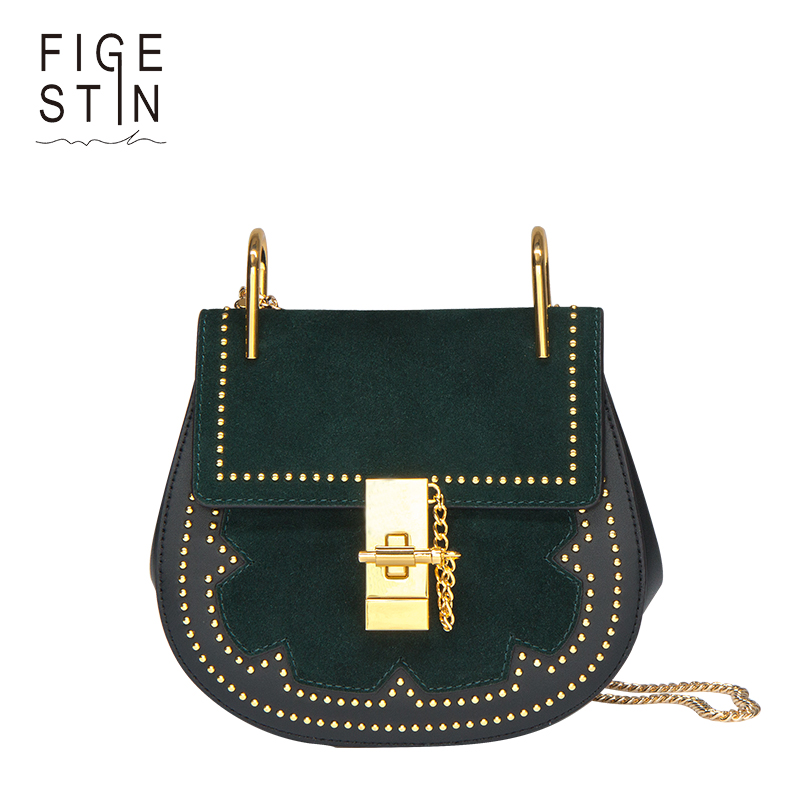 FIGESTIN Women's Shoulder Bags Split Leather Green Red Rivets Saddle Small Faux Suede Crossbody Bag for Women Luxury Fashion figestin mini top handle handbags for women fashion split leather green cover shoulder bags small totes crossbody hand bag new
