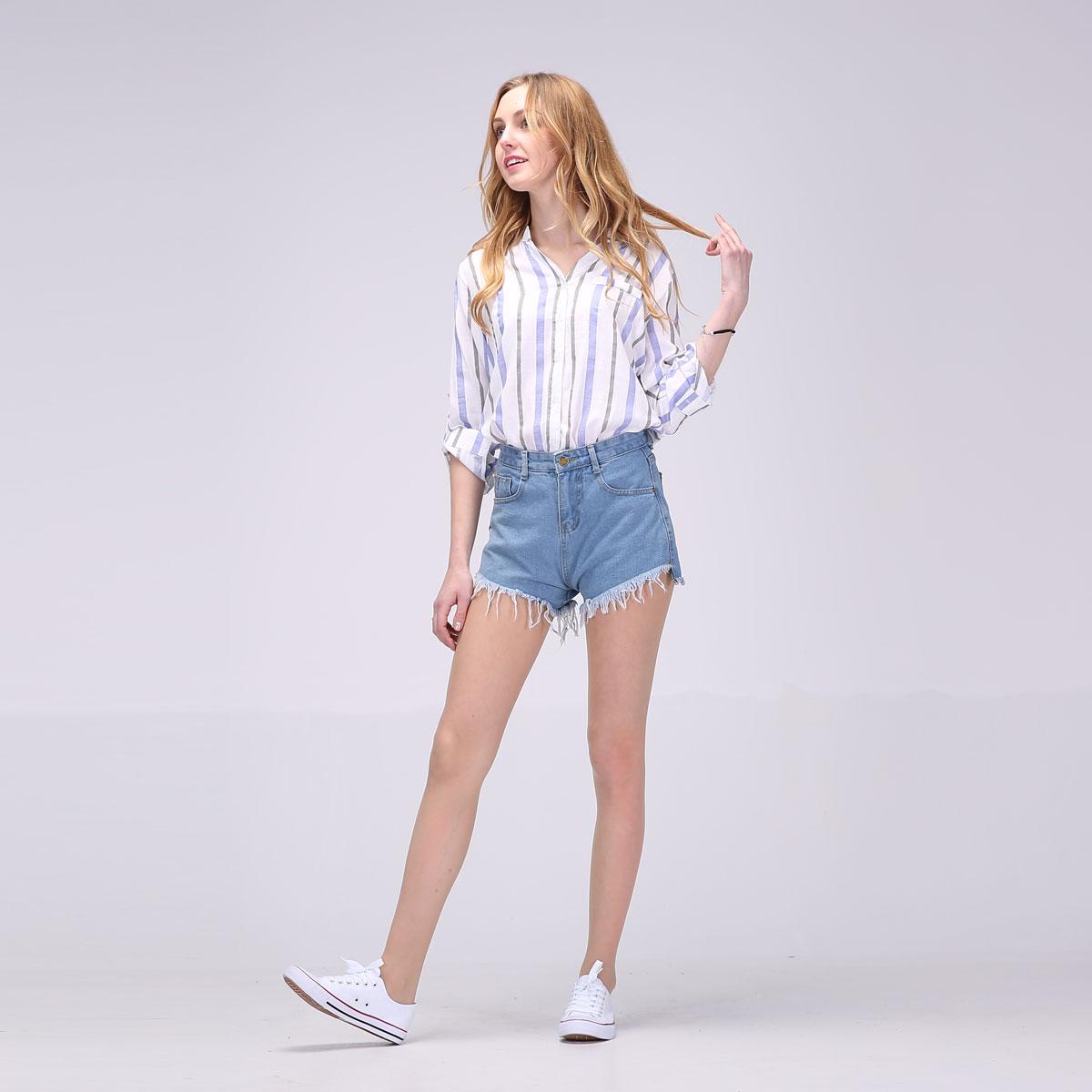 2017 Hot New Women Full Sleeve Blouses Striped Shirts Women Summer Tops Flare Sleeve Blouse Chemise Femme P Size 15