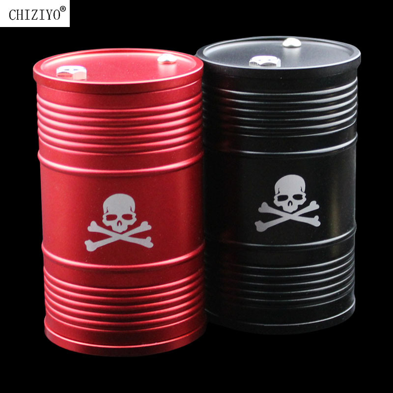 Black Red Aluminum Alloy Skull Car Home Ashtray Interior Accessories Oil Drum Shape Smoke Ash Holder Drop Shiipping CHIZIYO
