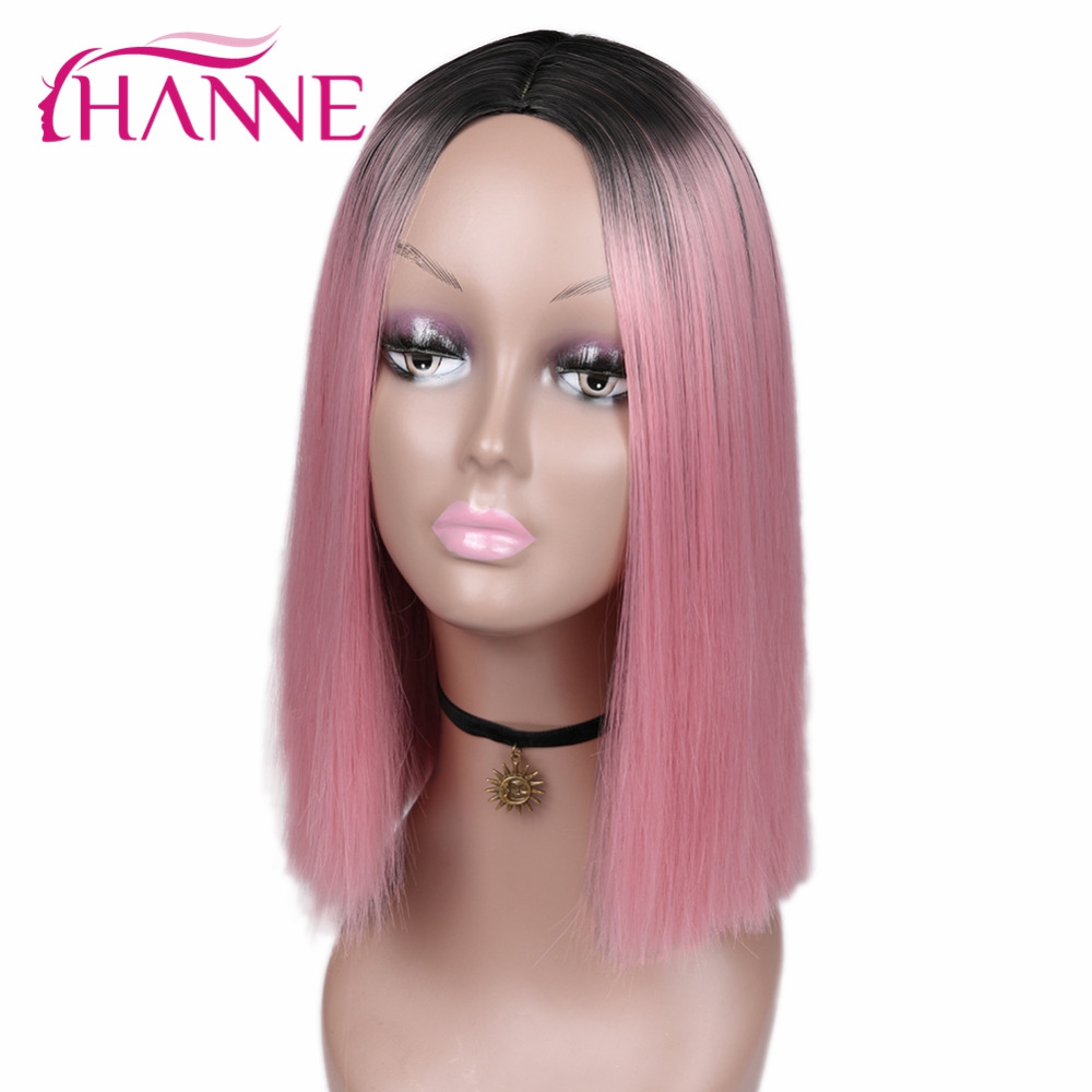 HANNE Pink Bob Wigs Short Haircut Shoulder-length High Temperature Fiber Ombre Synthetic ...