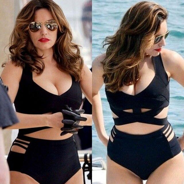 00a4e7d42f4 US $16.5 |NEW Sexy Women Bikini Padded Bra Two piece Swimsuit Bathing Suit  Halter Swimwear Cut out High Waist Swimsuit Black-in Bikinis Set from ...