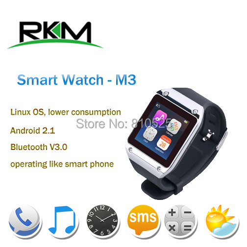 """New Arrival!RKM Bluetooth Smart Watch MTK6250 1.54"""" screen connecting with Android smart phone by Bluetooth galaxy gear"""