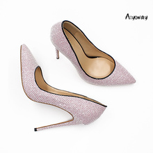 Aiyoway 2019 Women Shoes Ladies Pointed Toe High Heels Glitter Pumps Autumn Spring Party Wedding Shoes Slip-On Sexy thin Heels недорго, оригинальная цена