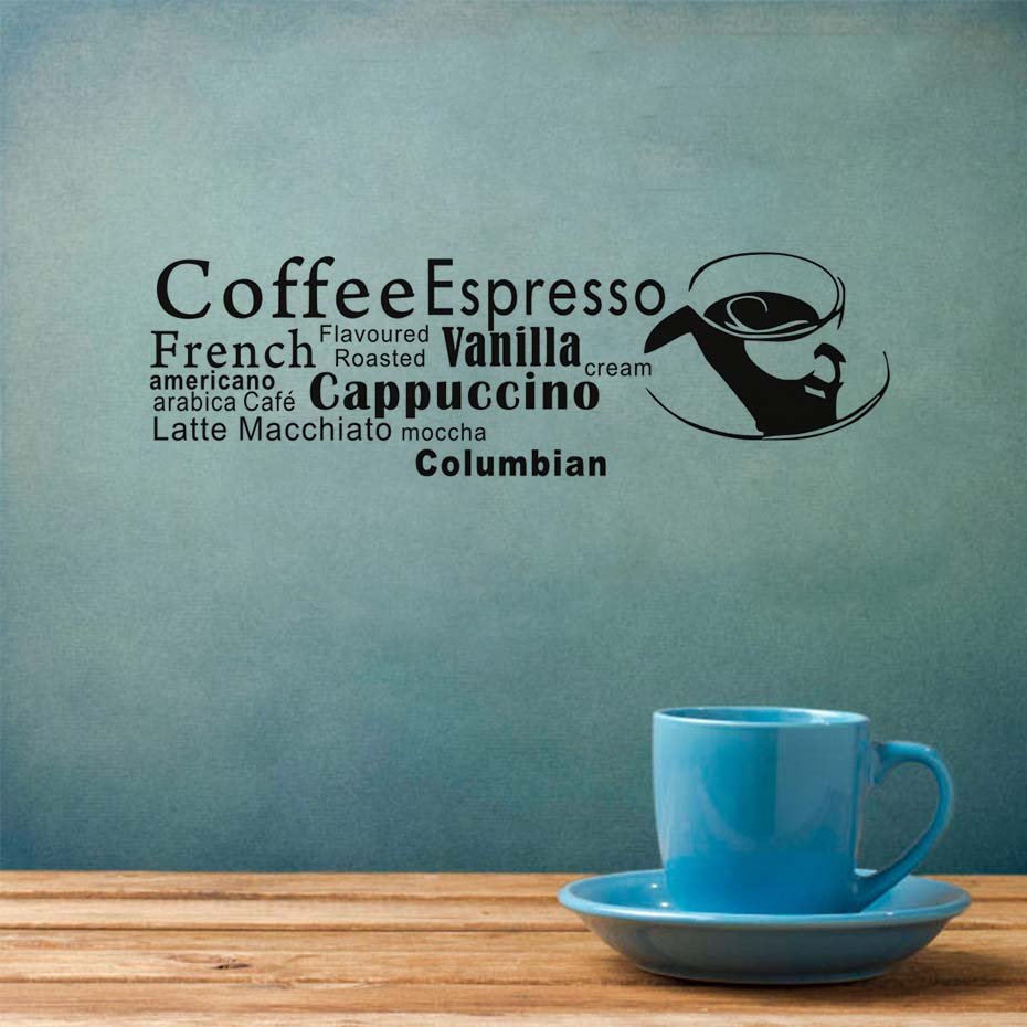 French Coffee Espresso Wall Decal Wall Art Quote Vinyl Decal Cafe ...