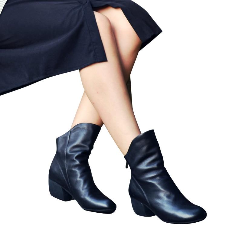Xiangban 2019 vintage moda qara qadınlar ayaq biləyi çəkmələri - Qadın ayaqqabıları - Fotoqrafiya 3