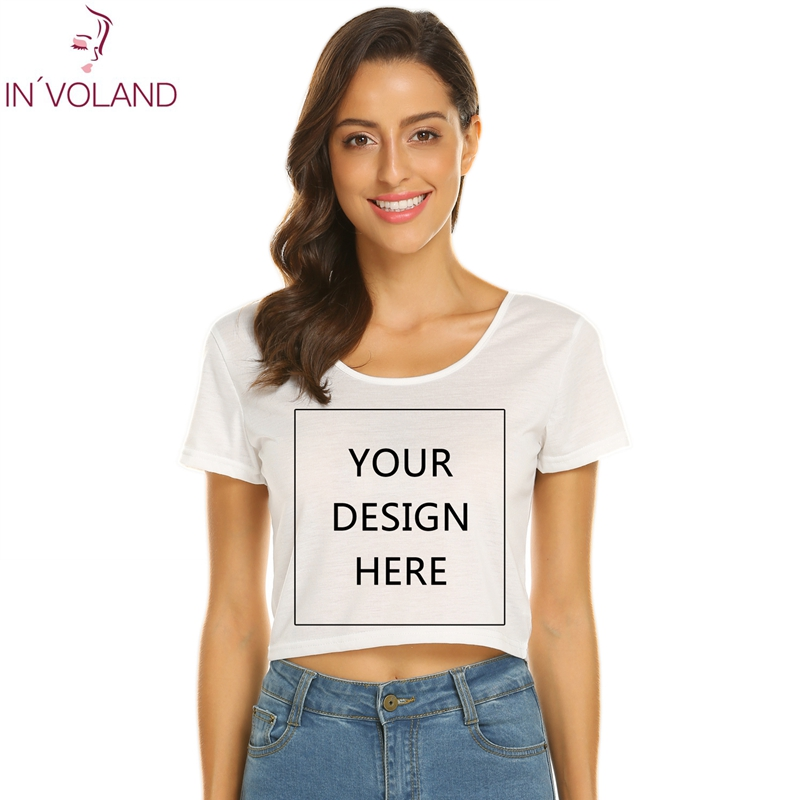 INVOLAND DIY Design Tee Shirt 2018 photo text logo Custom T Shirt Women Clothing Short Sleeve Printed Custom T-shirt