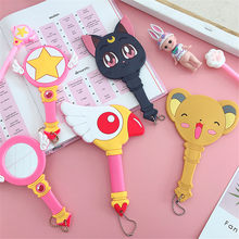 Anime Sailor Moon Card Captor Sakura Luna Kat Make Up Spiegel Handvat Draagbare Cosplay Spiegel Handtas Hanger Christmas Gift(China)