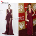 2016 Sexy Burgundy Halter Celebrity Dresses Formal Party Dress High Slit Red Carpet Gowns Full Length Formal DRESS