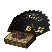 Водонепроницаемый пластиковый покер черный ПВХ игральные карты набор золотой серебряной фольги стол для покера игровая карта вечерние кла...