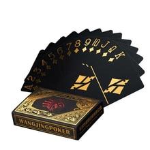цена на Waterproof Plastic Poker Black PVC Playing Cards Set Gold Silver Foil Poker Deck Game Card Party Classic Magic Tricks Tool Joker