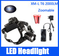 High quality CREE XM-L T6 Headlamp LED Headlight Head lamp 2000 Lumens Flashlight Head Torch 3 mode +EU or US Charger