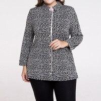 M 5XL Plus Size Cotton Tops Long Sleeve Women S Blouse Casual Long Shirt Autumn Dot