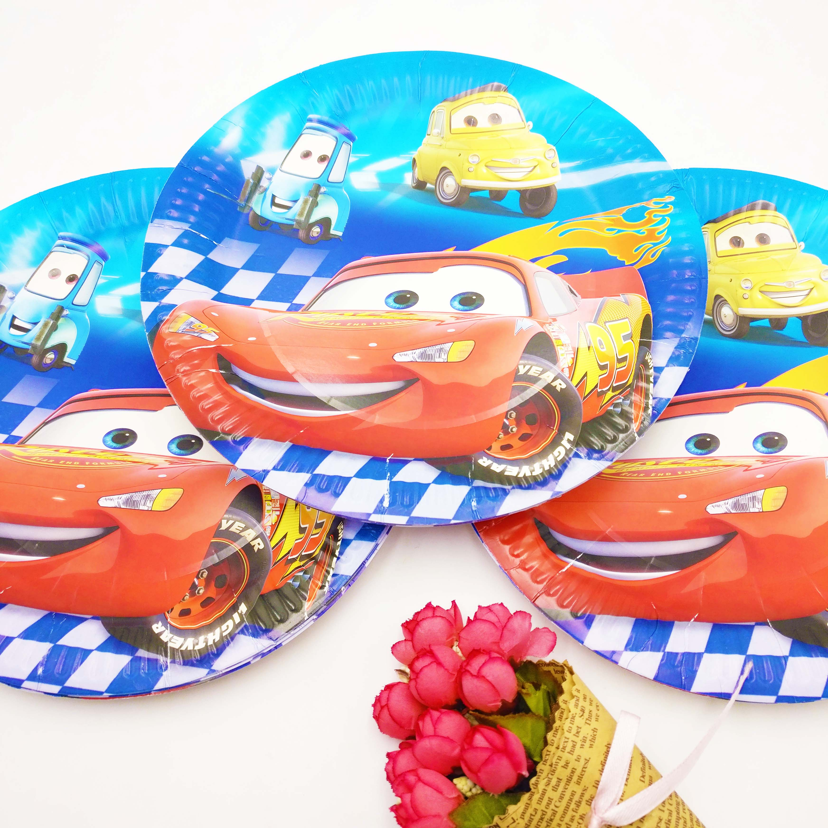52pcs Disney Party Supplies Tableware Set Cartoon Cars Lightning McQueen Kids Birthday Party Decoration Baby Shower Party Decor in Disposable Party Tableware from Home Garden