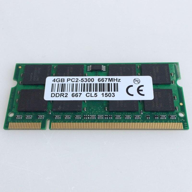 4 GB PC2-5300S DDR2-667 667 Mhz DDR2 Ordinateur Portable Mémoire CL5.0 SODIMM RAM Portable Non-Ecc 200pin 2RX16 Faible densité