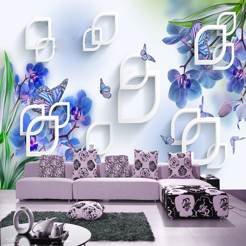 orchid murals promotion shop for promotional orchid murals on. Black Bedroom Furniture Sets. Home Design Ideas