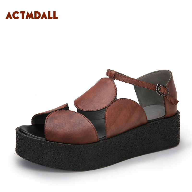 2018 Summer Thick Sole Rome Woman Sandals Peep Toe Platform Sandals Flat Heel Leather Female Casual Shoes Actmdall women sandals 2018 fashion summer shoes woman rome ankle strap flat sandals casual peep toe gladiator sandals low heel shoes