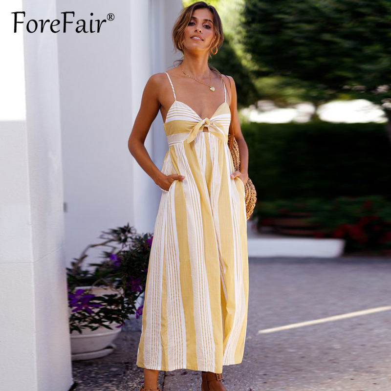 Forefair Yellow Striped Loose   Jumpsuit   Rompers Women Casual Overalls Sexy Backless Front Bow Tie Wide Leg Pants   Jumpsuit