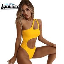 6 Colors 2019 Sexy One Shoulder High Cut Swimwear One Piece Swimsuit Women Female Bather High Waist Lady Bathing Suit Swim YX993