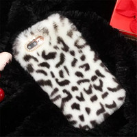 For IPhone 7 Plus Furry Leopard Rabbit Fur Hair Case For IPhone 4 4S 5 5S