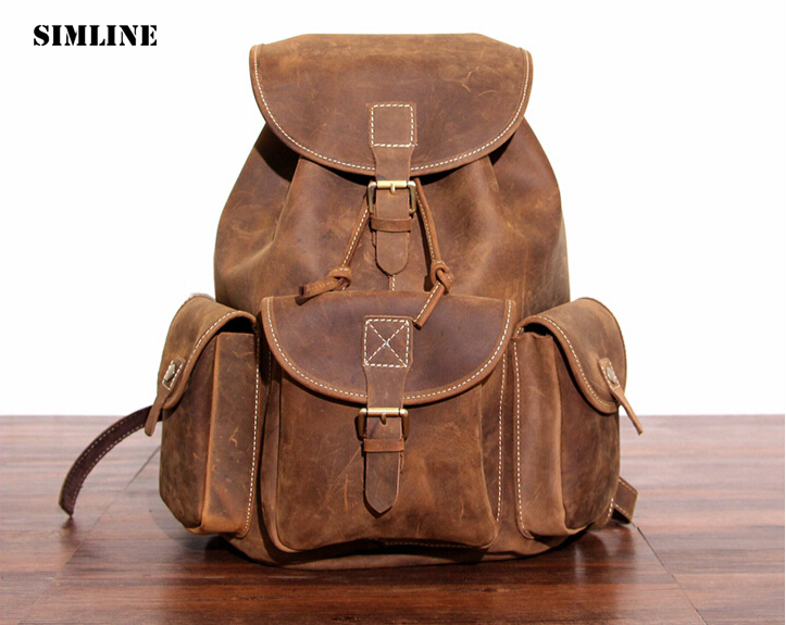 Brand Vintage Fashion 100% Real Genuine Crazy Horse Leather Cowhide Men Women Travel Backpack Backpacks Shoulder Bag School Bags men s genuine leather double shoulder backpacks real cowhide leather backpack for men brand bags man multi fuctional bag