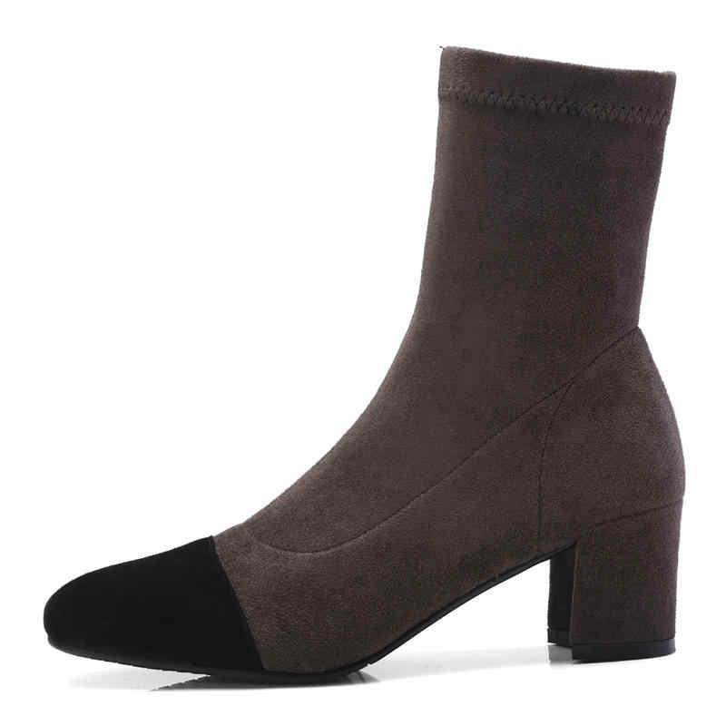 MORAZORA 2018 nowa moda zima botki wysokiej jakości kozaki zamszowe wygodne grube szpilki buty rozmiar 33-40