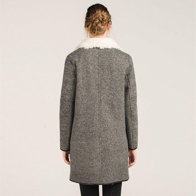 Design Col Fursarcar White Laine Hiver Fourrure gray Cachemire Collar Pour En 2018 Collar Naturelle Chaud D'hiver Veste De Véritable Manteau Long Nouveau Femmes PqqwprE