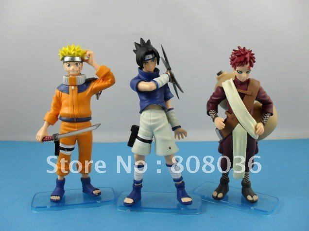Hot Japan Anime Naruto set of 3pcs Uzumaki Naruto Uchiha Sasuke Gaara Pvc figure toy dolls freeshipping
