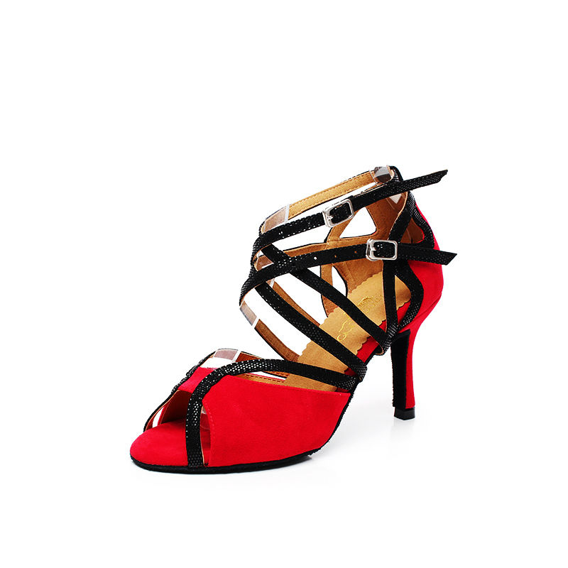 Kasut Tarian Ballroom Suede Cowhide Soft Sole Wanita Pakai Lantai Non-slip Untuk Girl Sneakers Jazz Latin Dance QJ1007 Rendah Diskaun