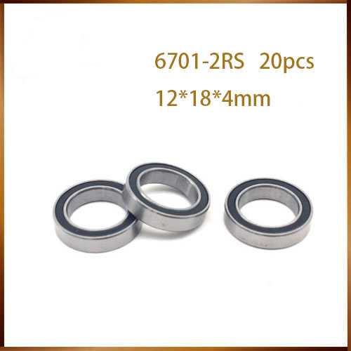 20PCS High quality ABEC 6701 2RS <font><b>6701RS</b></font> 6701-2RS 6701 RS 12x18X4 mm Miniature double Rubber seal Deep Groove Ball Bearing image