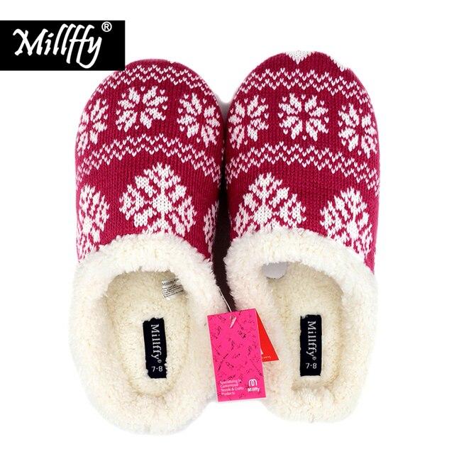 c09eb97ba4fa6 Nordic Millffy zimą ciepłe kapcie pantofel Memory foam domu buty Damskie  buty Pantofle gumowa Sherpa solomons