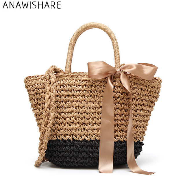 54343c0e47 ANAWISHARE Straw Women Handbags Large Shoulder Bags Girls Casual Tote Bags  Female Summer Beach Handbags Bolsa Feminina