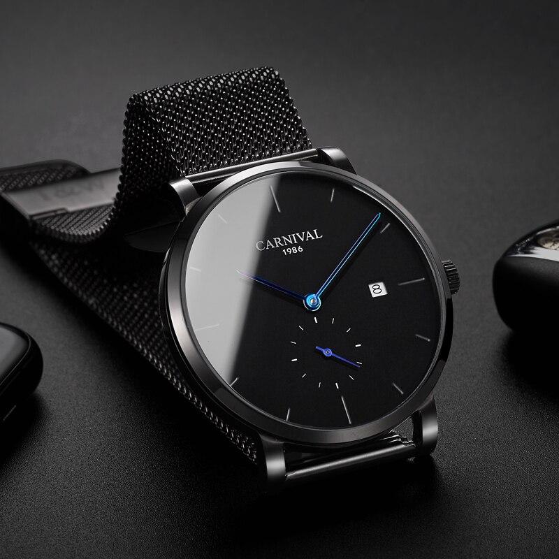 Carnaval masculino relógio automático malha banda breve ultra fino pequenos segundos dial data luxo relógio mecânico simples relógio de negócios - 3