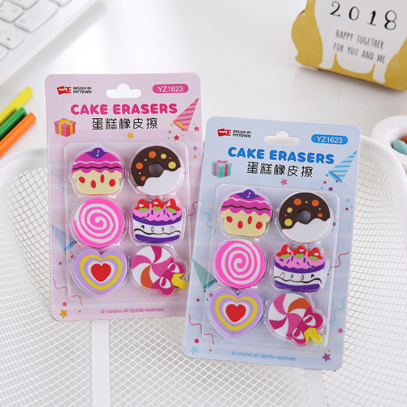 6pcs/lot Cartoon Cute Cake Donut Modelling Eraser Children Stationery Gift Prizes Kawaii School Office Supplies Papelaria