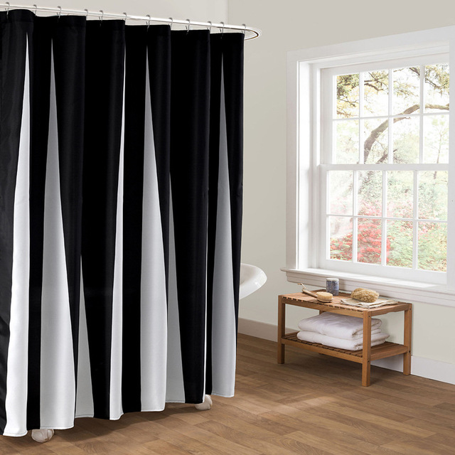 Charm European Clic Black And White Waterproof Mildew Bathroom Curtain Unique Stripes More Creative Shower
