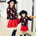Famli Mom Kids Shirt+Skirt 2pcs Suit Mother Daughter Matching Spring Autumn Fashion Long Sleeve Printed Outfits Family Clothing