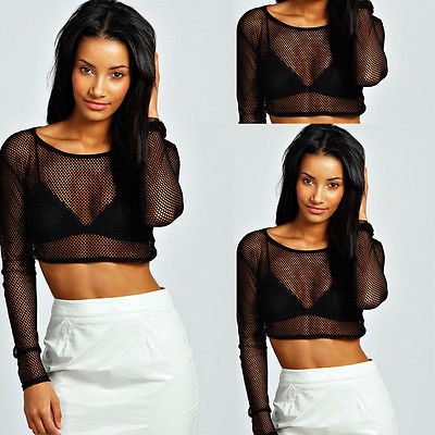 New Fashion Sexy Womens Hollow Out  Crop Tops Long Sleeve Shirts  See-through  Blouse
