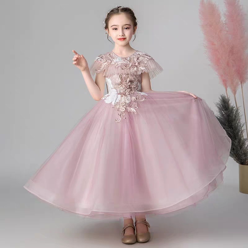 Children Girls Fashion O-Neck Birthday Wedding Party Princess Long Prom Dress Kids Teens Piano Costume Host Tutu Dress Clothes