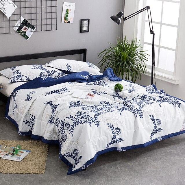 Extrêmement BeddingOutlet fleur Couvre lit Brodé Blanc bleu Mince Couette Doux  TH17