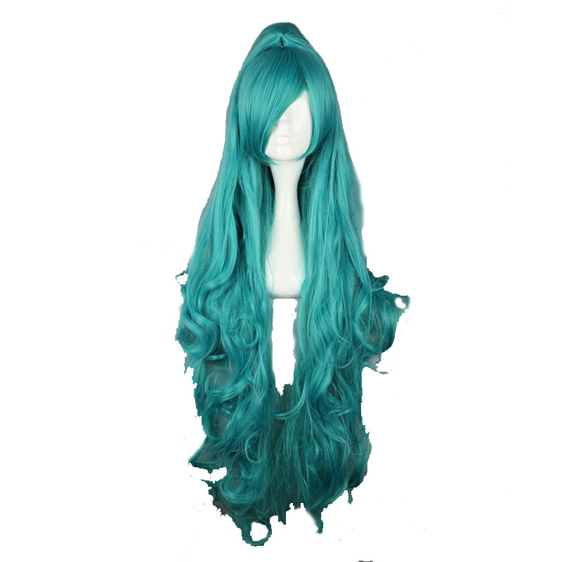 MCOSER Free Shipping 100cm Long Wavy Green Synthetic Cosplay Costume Wig one Ponytail 100 High Temperature