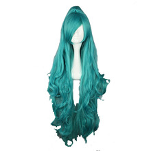 MCOSER Free Shipping 100cm Long Wavy Green Synthetic Cosplay